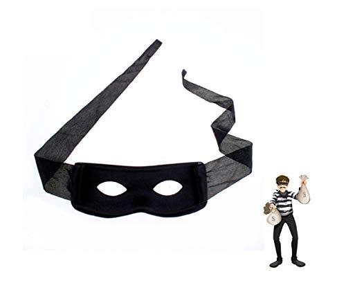 TK Gruppe Timo Klingler Schwarz Maske Bandit Augenmaske Zorro Räuber Einbrecher Dieb Bankräuber Panzerknacker Kostüm für Kinder und Erwachsene Kostüm Fasching und Karneval (Kind Räuber Kostüm)