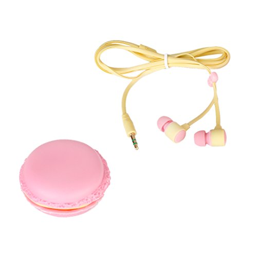 In Ear Kopfhoerer Mit Niedlichen Bunten Macaron Aufbewahrungsbox Rosa (Paris-brot-box)