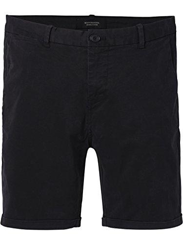 Scotch & Soda Herren Shorts Classic Chino Stretch Cotton Twill Quality, Schwarz (Black 0008), W30