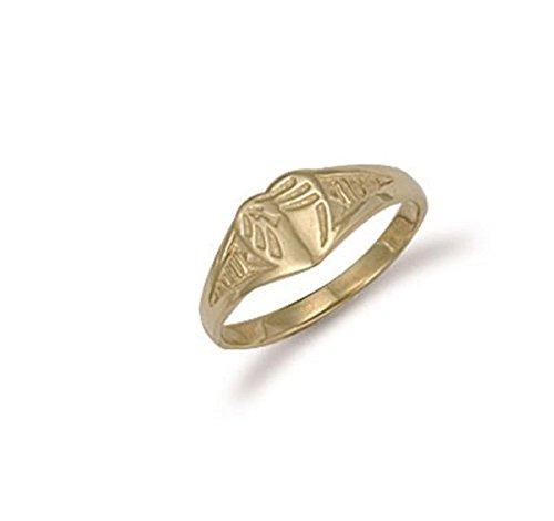 9ct Gelb Gold Baby Gravur Herz Signet Ring 6mm