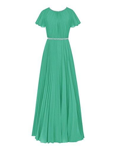 Dresstells Damen Chiffon Rundhals Bodenlang Abendkleider Ballkleid mit Träger Grün