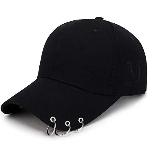 Unisex Kappe Baseball Cap Verstellbar,Männliche und weibliche Ringbuchstaben-Baseballmütze,Polo Style Classic Sports Casual Plain Sun Hat,black,Geeignet zum Laufen,Klettern,Wandern,Outdoor