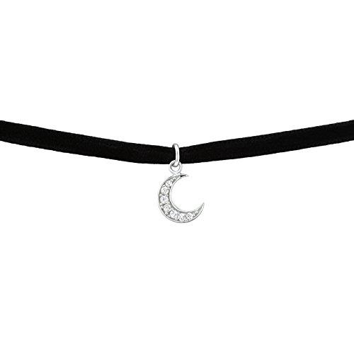 Laimons Damen Choker-Halskette Halbmond glanz Schwarz Zirkonia Samt Sterling Silber 925