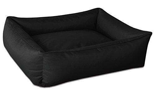 hundeinfo24.de BedDog Hundebett MAX / großes Hundekörbchen aus Cordura / waschbares Hundebett mit Rand / Hundesofa vier-eckig / für drinnen und draußen / XL / BLACK / schwarz