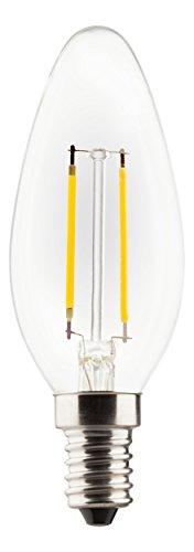 MÜLLER-LICHT Retro-LED Lampe Kerzenform ersetzt 25 W, Glas, E14, 2 W, weiß, 1er Set Glas Müller