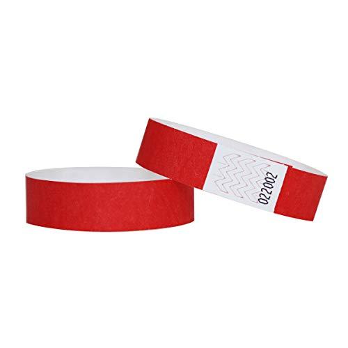 Confezione di 100braccialetti in carta Tyvek, 19mm, per eventi, festival,indistruttibili e personalizzabili,12colori disponibili 19mm rosso