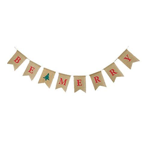 Sogorge Be Merry Jute Banner | Weihnachten Jute Banner | Weihnachtsbaum Girlande | Urlaub Wimpelkette | Home Garden Indoor Outdoor Banner | Natur Jute Banner | Weihnachten Decor Dekorationen (Indoor Christmas Decor Requisiten)