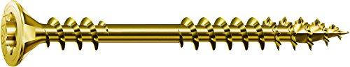 SPAX Verlegeschraube, 4,5 x 60 mm, 500 Stück, Senkkopf, T-STAR plus, 4CUT, Fixiergewinde, Verzinkt gelb passiviert A2L - 0541020450605