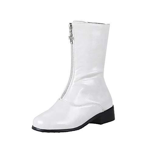 Boots Stiefel Schwarz Damen Chelsea Ankle Winter Flach Plateau Leder Lack Latex Kurzschaft Halbschaft Halbhohe Combat Desert Chukka Halbhohe Platform