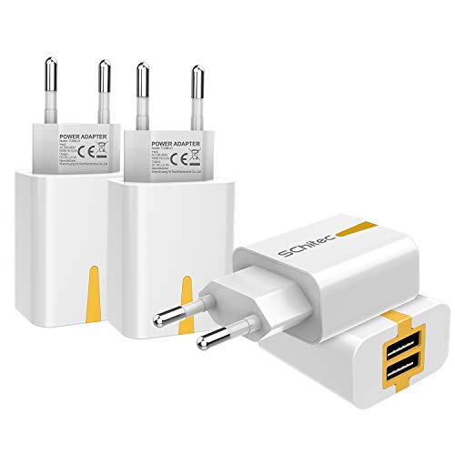 2 Port Wall (USB Ladegerät, 4er-Pack 2 Port USB Netzteil 5V / 2.1A Ladeadapter , USB-Portadapter Reise Wall Charger für iPhone X 8 Samsung Galaxy S9 S8 iPad Pro Huawei P20 P30 LG Tablet Kindle MP3(4Pack-Weiß))