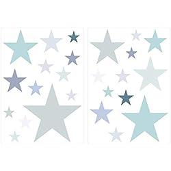 Wandtattoo Kinderzimmer Wandsticker Set Pastell Sterne in zarten Grau und Grün