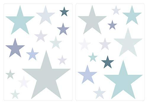 dekodino Wandtattoo Kinderzimmer Wandsticker Set Pastell Sterne in zarten Grau und Grün