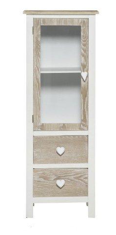 Vetrina bianca in legno con richiami country stile vintage con pomelli a forma di cuore L'ARTE DI NACCHI TD-01