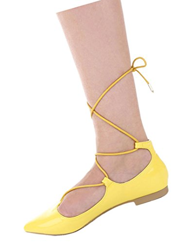 Damen Pumps Schuhe Elegant High Heels Mit Schnürung Gelb