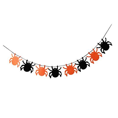 liestoff Wimpelgirlande Wimpelkette Dreieck Banner Deko Girlande mit Halloween Stil Design - Spinne ()