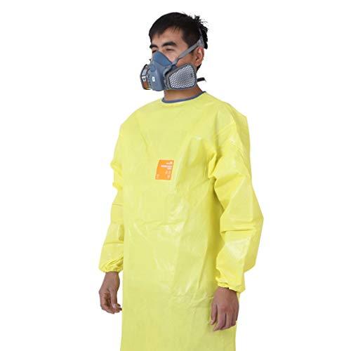 KZNLX Arbeitsschutzschürze Chemikalienschutzkleidung, Labor Schwere chemisch-biochemische Schutzkleidung, Anti-Säure-starke Alkali-Arbeitskleidung, Gelb (Size : XL)
