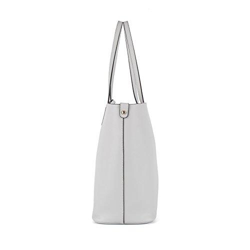 NAWO Sacs à Main En Cuir Designer Shoulder Tote Top-Poignée Bag Clutch Purse Pour Les Femmes Jaune gris