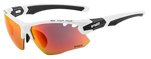 R&R Multi-Sportbrille Crown | Sonnenbrille | Radbrille | Skibrille mit Wechselgläser oder selbsttönend (weiß/schwarz, Wechselgläser)