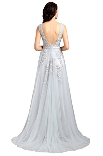 Eudolah Damen Abendkleid A-Linie langes Tuell Ballkleid Brautjungfer Cocktail Party Kleid Grau
