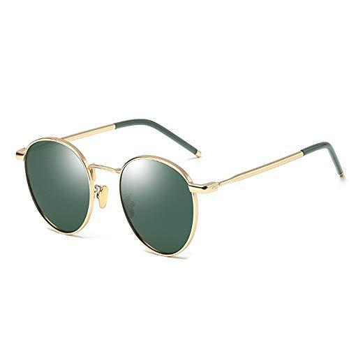 XHCP Frauen polarisierte Klassische Flieger-Sonnenbrille, polarisierte Sonnenbrille-Dame Retro Round Frame Sunglasses Driving Holiday Travel UV400-Schutz (Farbe: Grün)
