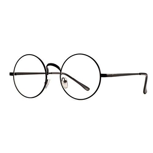 (Skitic Retro Runde Brille Brillenrahmen Damen Herren Dekobrille Fein Metallrahmen Nerdbrille Ohne Stärke Brillenfassung Rahmen (Schwarz))