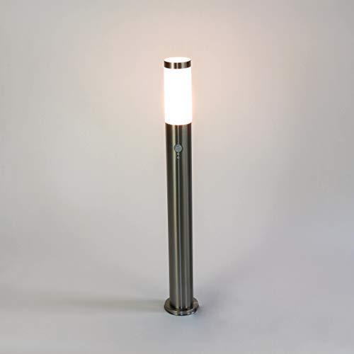 Wegeleuchte Edelstahl Silber Sensor Bewegungsmelder Ø6cm H:80cm E27 IP44 Garten Hof Weg Beleuchtung
