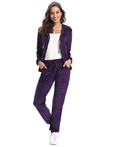 Abollria Damen Hausanzug Velours Trainingsanzug mit Samtoptik Kapuzejacke mit Reißverschluss Hose mit Kordelzug und Taschen …