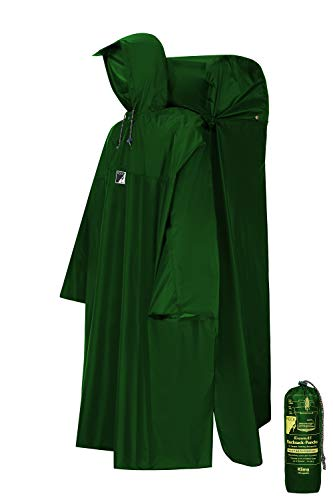 HOCK Regenponcho Wandern mit ausfaltbarem Regenschutz für Rucksack – Herren & Damen Regencape mit Sturmhalteband für Wanderprofis – Extra Langer Wanderponcho mit Verstellbarer Vorderlänge - Grün - M