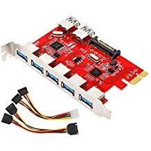 MoKo 7 Puertos de PCI Adaptador de Tarjeta de Expansión USB 3.0, Incluye 5 Externos y 2 Internas, 15 Clavijas de Conector, Compatible para Windows XP/Vista / 7/8 / 10 - Rojo + Plateado