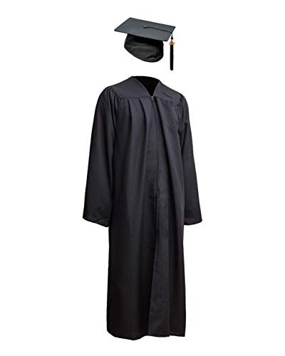 Schwarze Billig Kostüm Robe - Robe Academicus Komplett-Set: akademischer Talar aus Funktionsfaser + Doktorhut mit Quaste und aktueller (!) Jahrgangszahl (S Small (kleiner 165 cm Körperhöhe), Schwarz)