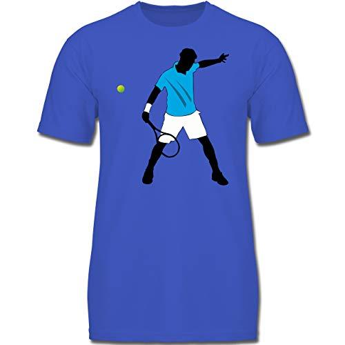 Sport Kind - Tennis Spieler Squash - 128 (7-8 Jahre) - Royalblau - F130K - Jungen Kinder T-Shirt