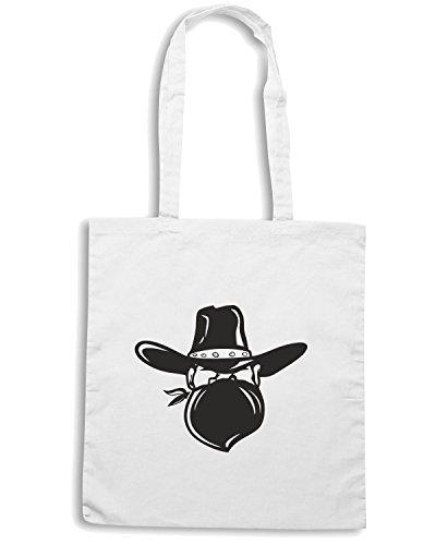 T-Shirtshock - Borsa Shopping FUN0688 bandit sticker 97330 Bianco