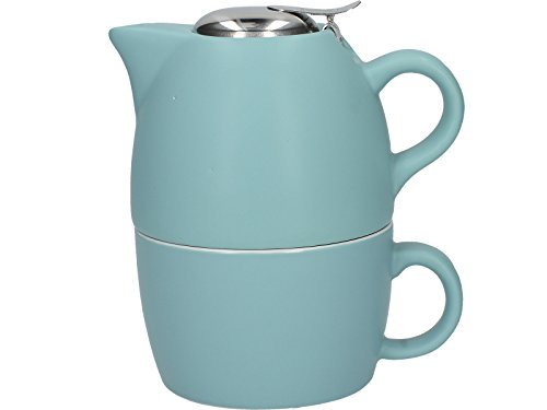 La Kaffeebereiter Barcelona Kollektion Tea for One Keramik Tee Tasse und Teekanne-Set – Retro Blau