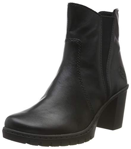 Rieker Damen Stiefeletten Y2554, Frauen Chelsea Boots, weibliche Ladies feminin elegant Women\'s Women Woman Freizeit,schwarz / 01,37 EU / 4 UK