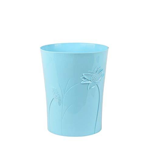 JPVGIA Plastic Wastepaper Bin - Mülleimer für Schlafzimmer, Badezimmer, Home - Round Open Top Office Mülleimer (Color : Blue, Size : 9.1l) 50l Open Top Bin