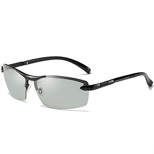GXM-FR Sonnenbrillen, Smart Photochromic Polarized Lenses Goggles für Herren, Geeignet für 100% UV-Schutz im Freien, Blendschutz, Reduziert Ermüdungserscheinungen der Augen,Black