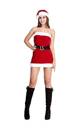 CWZJ Frauen Weihnachtskleid, Frauen Sexy Elastic Unterwäsche Weihnachten Minikleid Santa Kostüm Fräulein Weihnachten Dress Up Kleid Mit Kappe