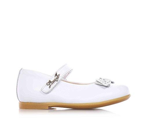 LIU JO - Ballerina bianca in pelle, con chiusura a strappo, logo sulla chiusura, fiocchetto scamosciato con strass applicato sulla parte anteriore, Bambina, Ragazza-22