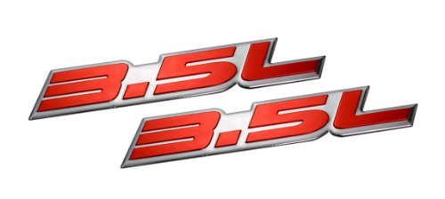 2 x (pair/set) 3.5L Liter Embossed RED on Highly Polished Silver Real Aluminum Auto Emblem Badge Nameplate for Dodge Intrepid RT SXT Avenger Challenger SE Magnum Charger Chrysler New Yorker LHS Sebring Concorde 300 300M Special Plymouth Prowler Eagle Vision Ford Taurus X SE Sedan Edge F-150 Fusion Sport Flex Explorer Ecoboost Pontiac G6 Lincoln MKX MKZ