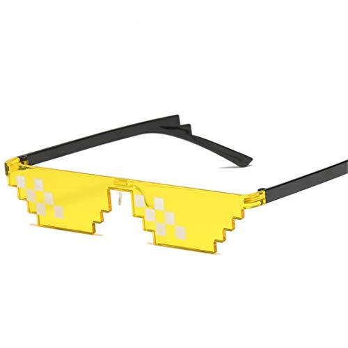 DAIYSNAFDN Zwei Dimensionen Mosaik Sonnenbrille Frauen Vintage Kleine Rahmen Brille Dame Retro Metall Sonnenbrille Yellow2