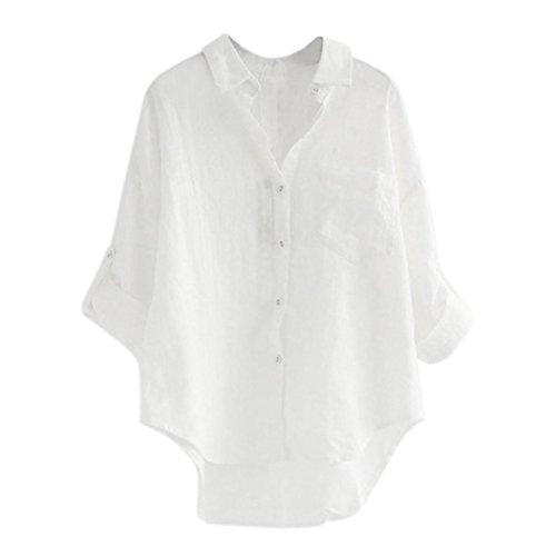 Camicetta da Donna Lunga, MEIbax T Shirt Camicetta da Donna di Bottone Manica Lunga Casual Loose Top Pullover Donna Cotone Bluse e Camicie Donna Lino