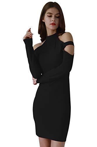 YMING Damen Elegantes Partykleid figurbetontes Kleid Bodycon Stil Rollkragen Langarm Kleid,Schwarz,L/DE 40
