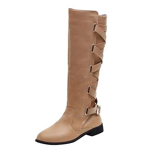 OSYARD Damen Leder Flache Langschaftstiefel Schnürstiefelett Seitlicher Reißverschluss Boots, Schuhe Schnalle Roman Riding Kniehohe Cowboystiefel Lange Stiefel -