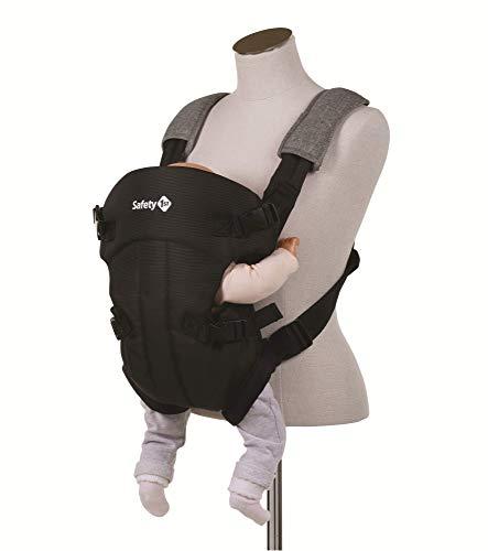 Safety 1st 2600666000 Babytrage Mimoso, ergonomische, verstellbare Bauchtrage, rückwärts-gerichtet, verstärkte Kopfstütze, ab der Geburt bis ca. 9 Monate, black chic (schwarz)