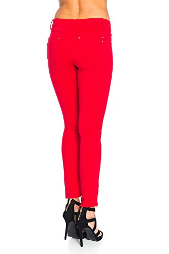 Modische Damen Jeggings Leggings Hüfthose Stretch Slimfit , Sehr bequem Rot