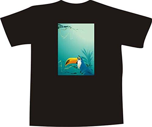 T-Shirt F1112 Schönes T-Shirt mit farbigem Brustaufdruck - Männchen Blick Mehrfarbig
