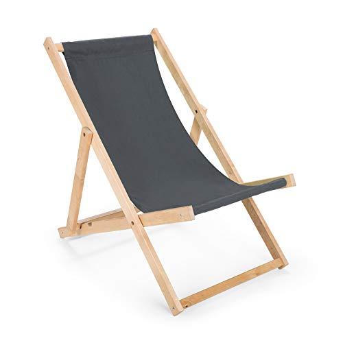 Unbekannt Lliegestuhl Holz Strandliege Liegestuhl aus Holz Gartenliege GRAU