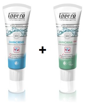 Lavera Zahncreme basis sensitiv 75 ml + Zahncreme mint Basis sensitiv 75 ml im Set für strahlende Zähne