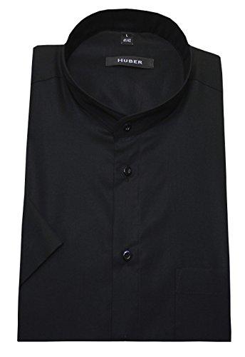 Stehkragen Hemd schwarz Kurzarm Baumwolle bügelleicht HUBER 0126 bequeme Passform S bis 6XL Schwarz