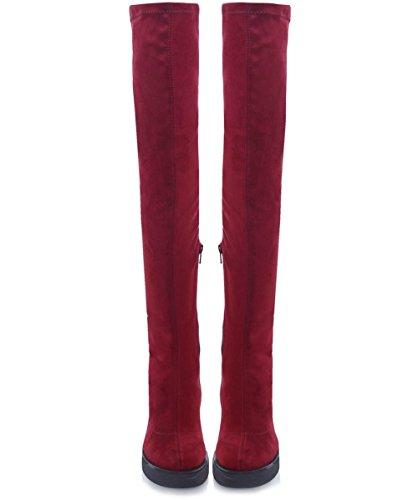 INUOVO Sappho bourgogne femme bottes sur le tronçon du genou Bordeaux